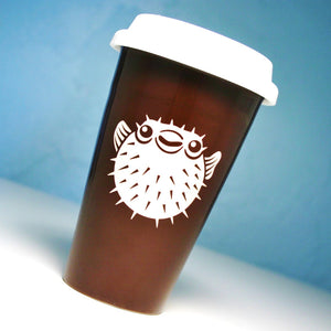 puffer fish brown travel coffee cup