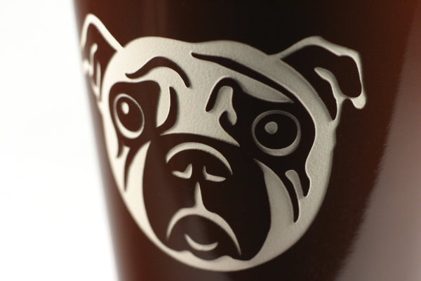 pug travel mug detail, brown