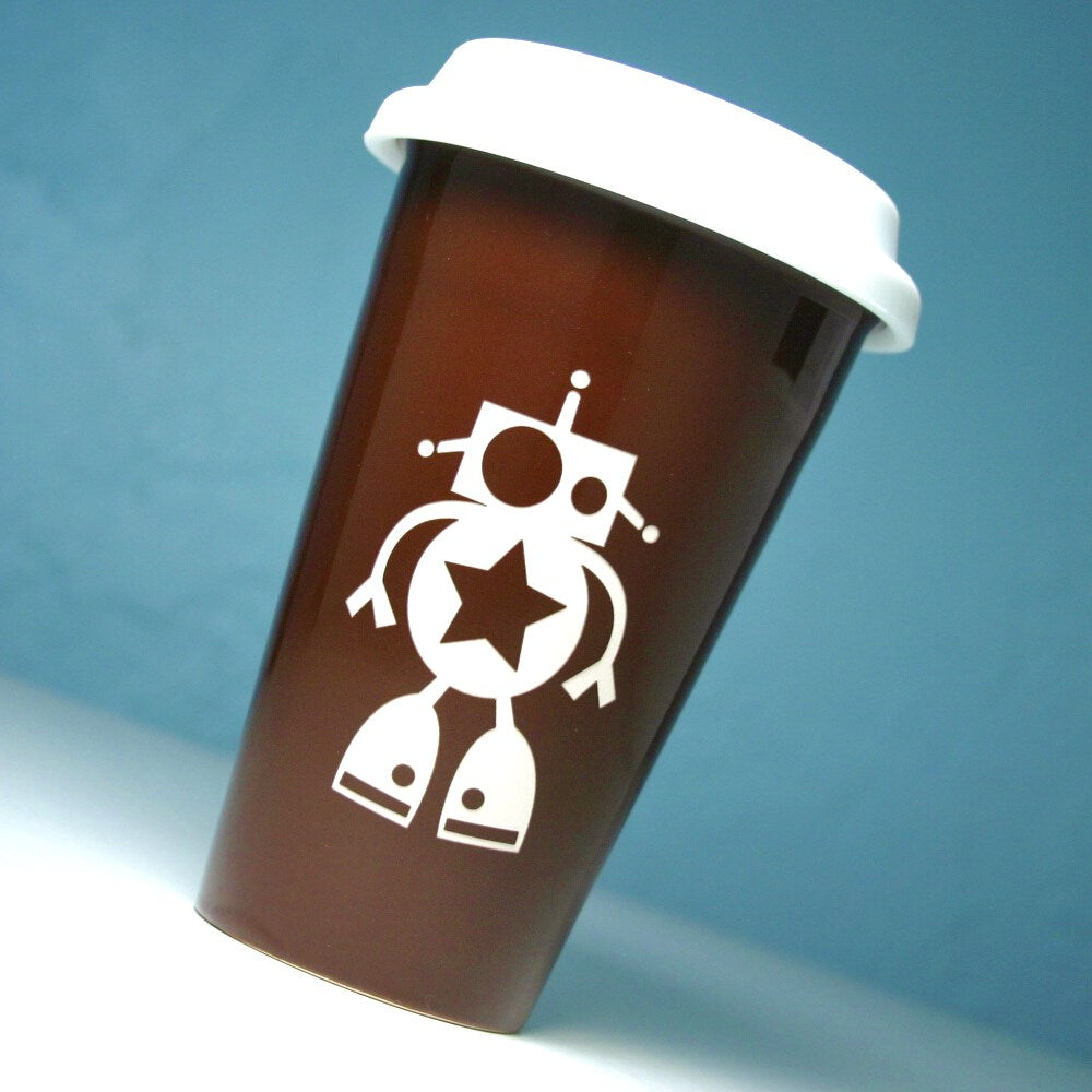 brown robot travel mugs