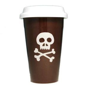 brown skull ceramic travel mug