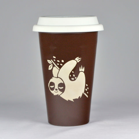 Sloth brown travel mug