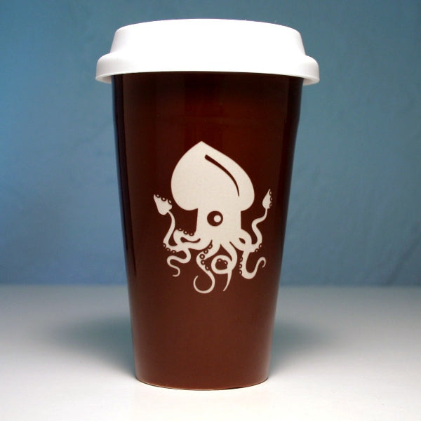 brown ceramic squid travel mug