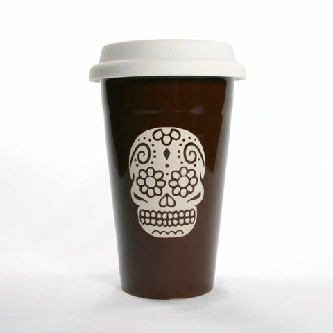 brown sugar skull travel mug