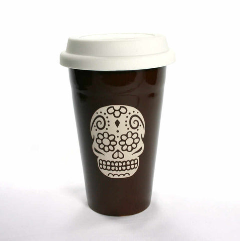 brown day of the dead travel mug