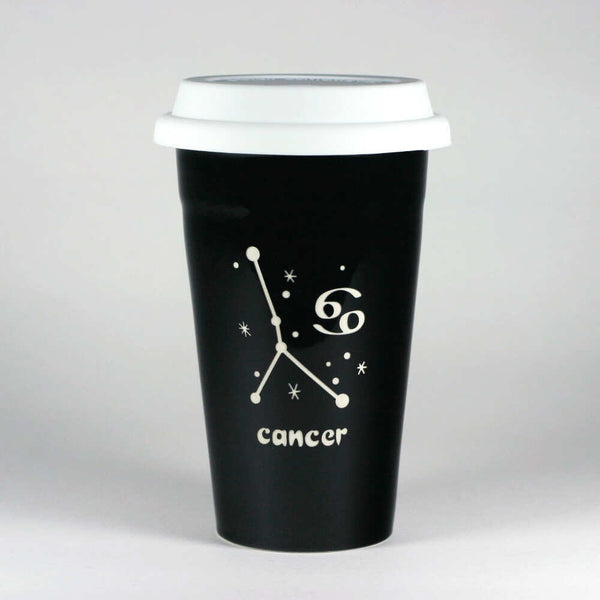 cancer constellation travel mug, black, by Bread and Badger