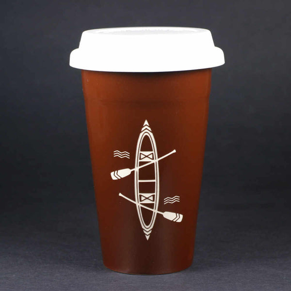 Canoe travel mug, brown, by Bread and Badger