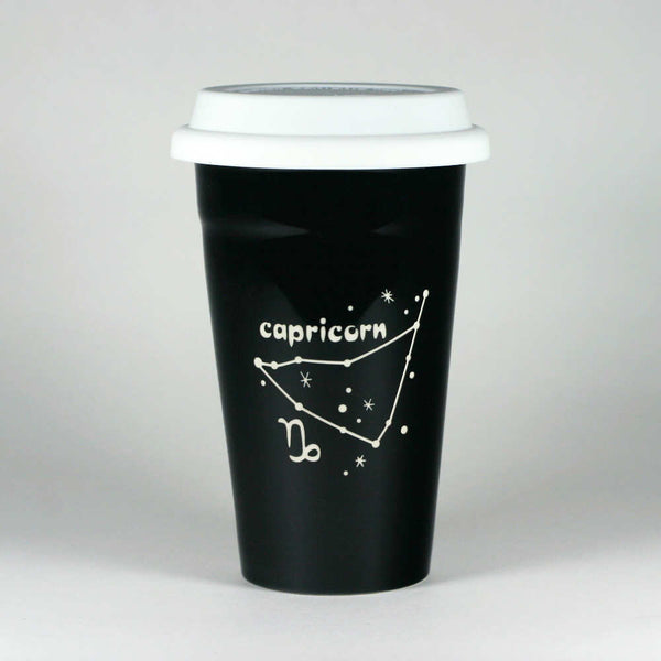 capricorn constellation travel mug, black, by Bread and Badger