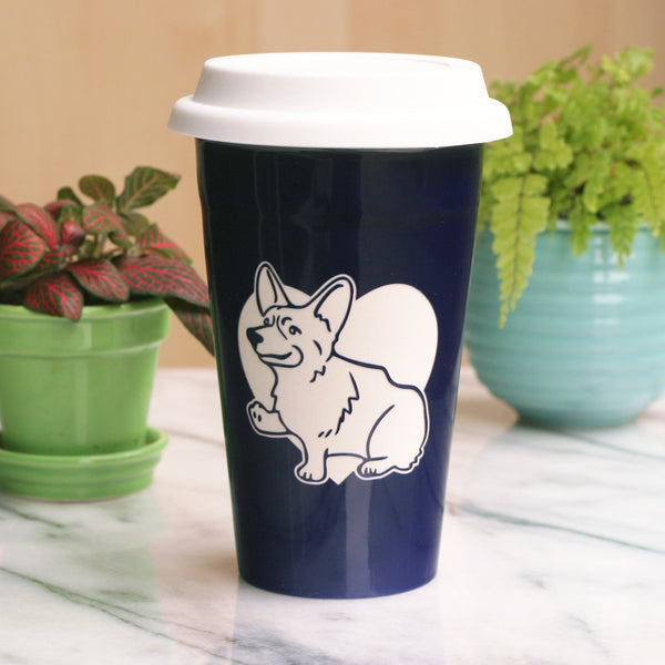 Corgi travel mug in navy blue, by Bread and Badger