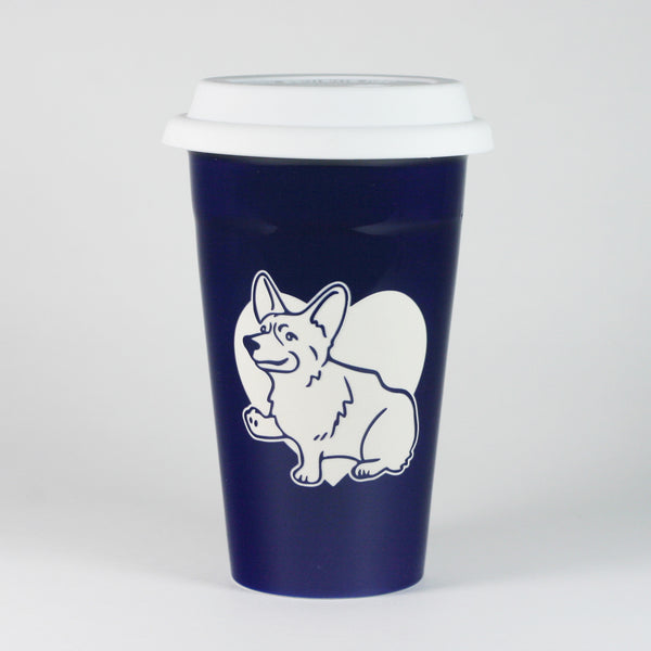 Corgi dog travel mug in navy blue, by Bread and Badger