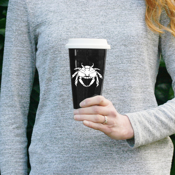 Crab Travel Mug in black by Bread and Badger
