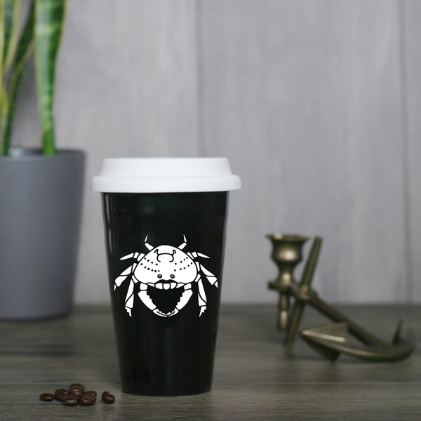 Dungeness Crab Travel Mug in black by Bread and Badger