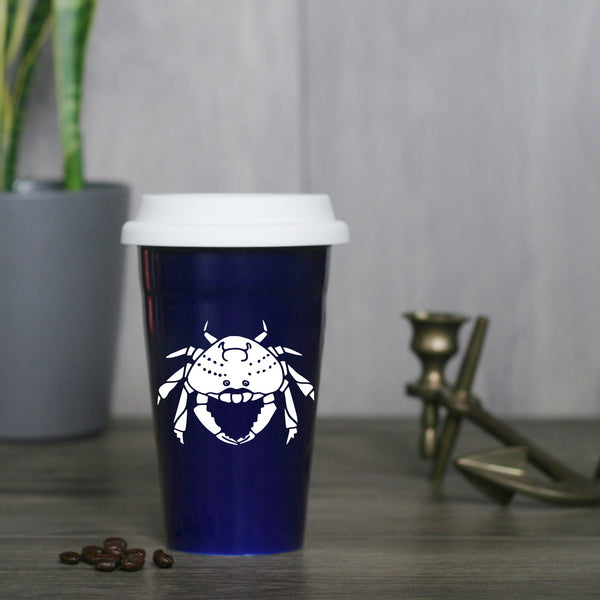 Dungeness Crab Travel Mug in navy blue
