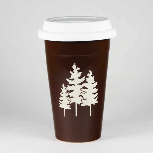 Family Trees travel mug, brown, by Bread and Badger