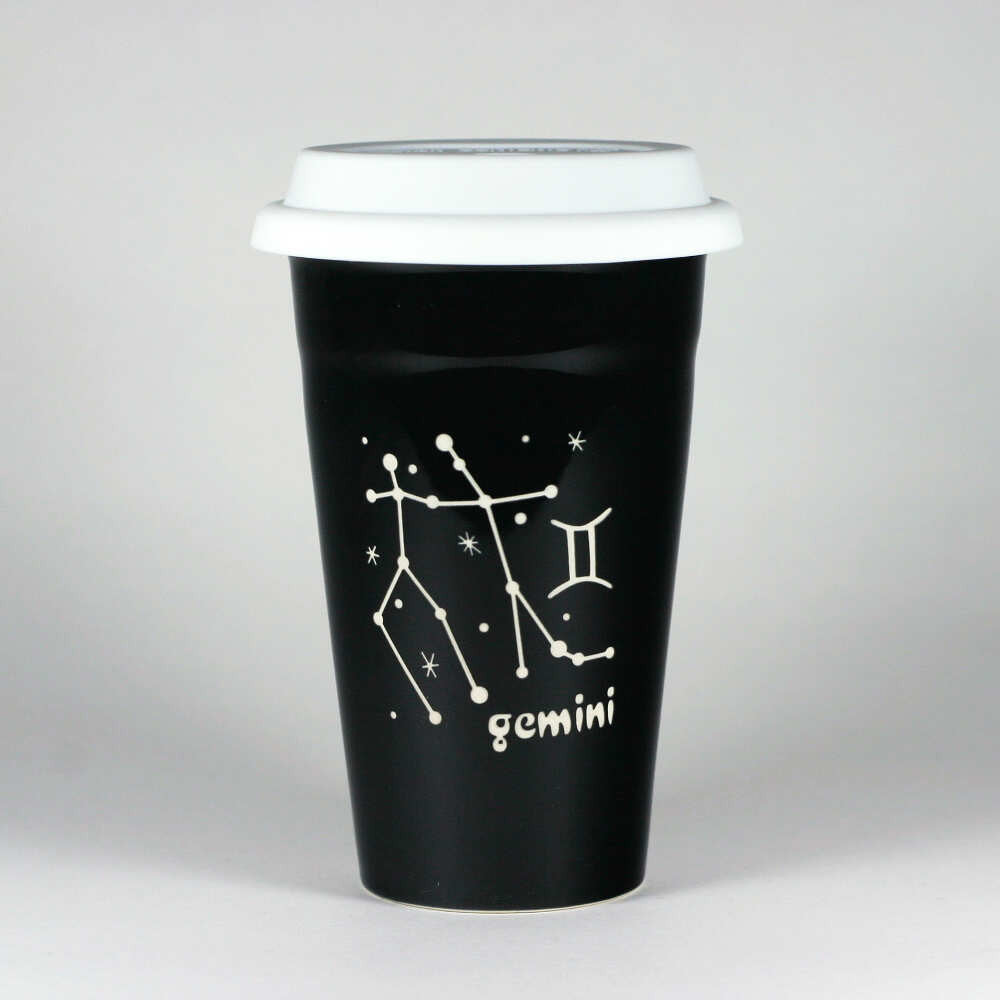 gemini constellation travel mug, black, by Bread and Badger
