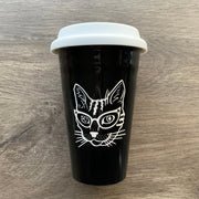 Glasses Cat Travel Mug