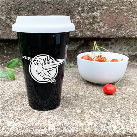 Hummingbird travel mug, black, by Bread and Badger