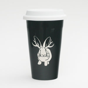 Jackalope rabbit travel mug by Bread and Badger, black