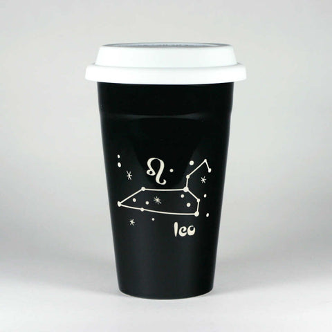 leo constellation travel mug, black, by Bread and Badger