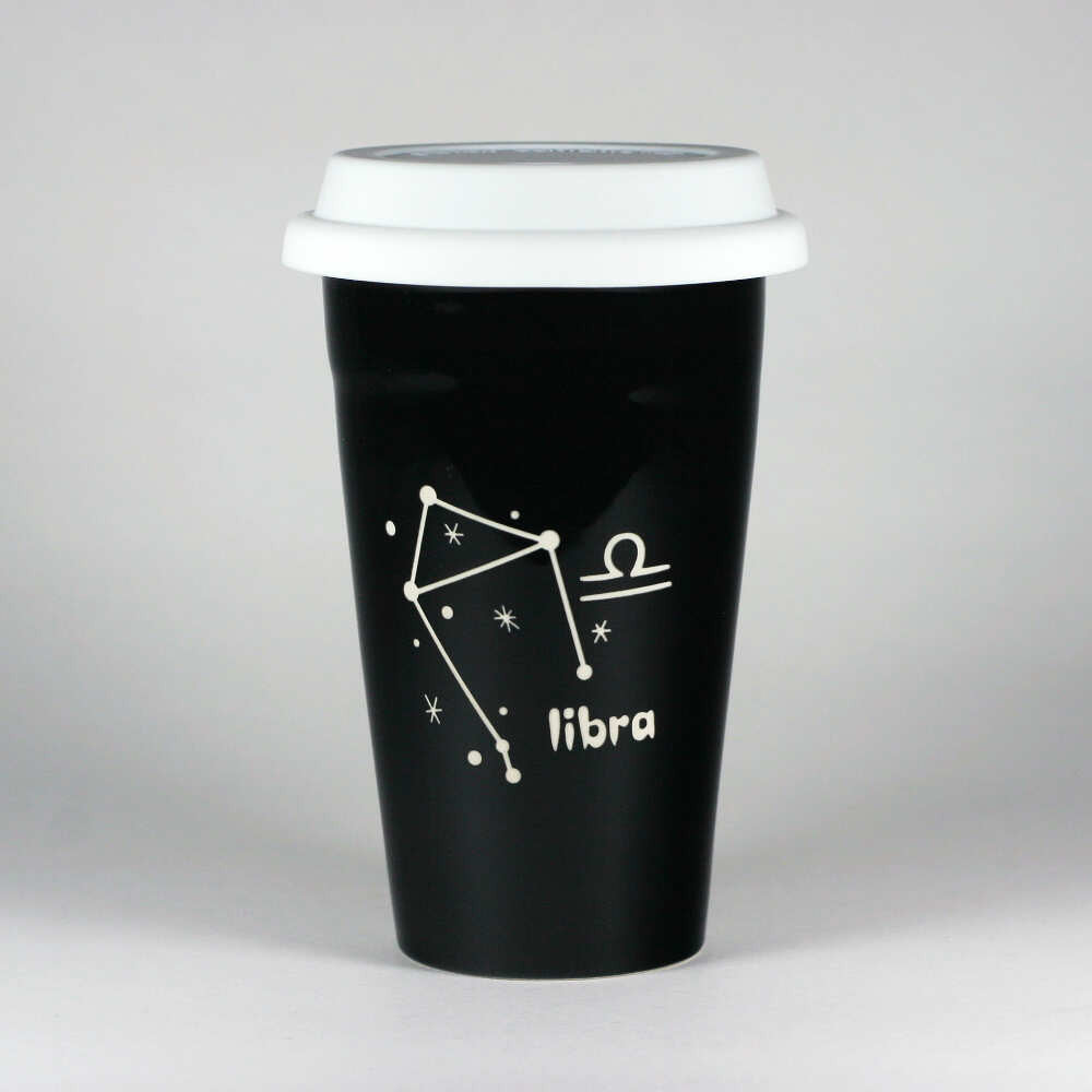libra constellation travel mug, black, by Bread and Badger