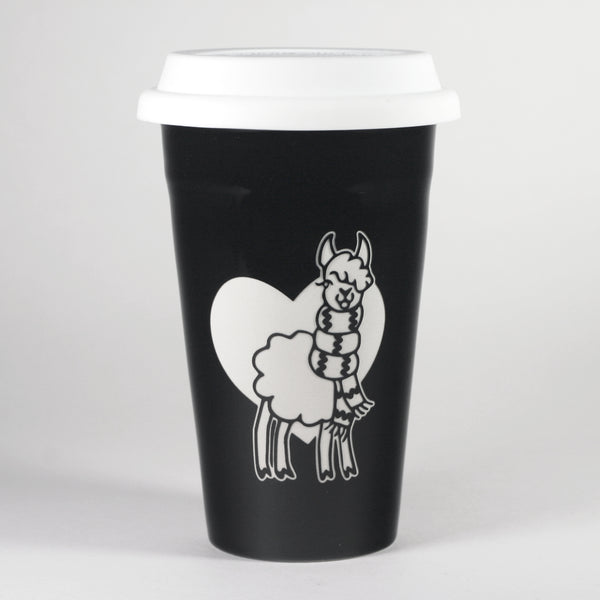 Black Llama travel mug by Bread and Badger