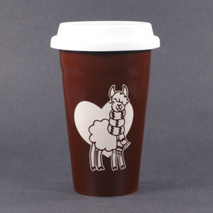 Brown Llama travel mug by Bread and Badger