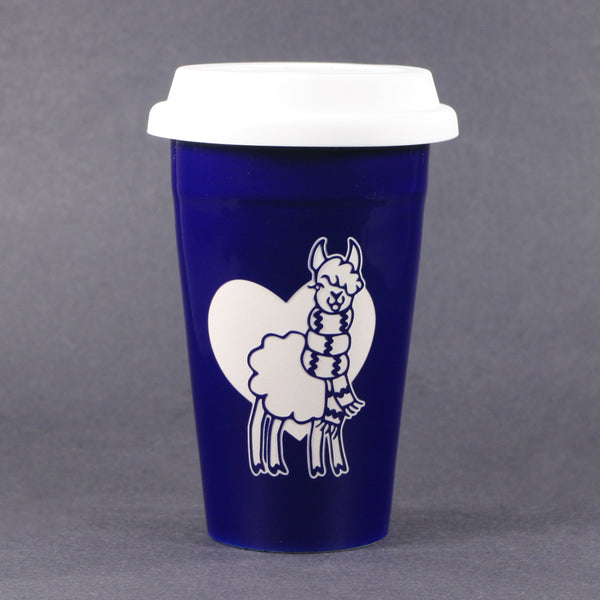 Navy Blue Llama travel mug by Bread and Badger