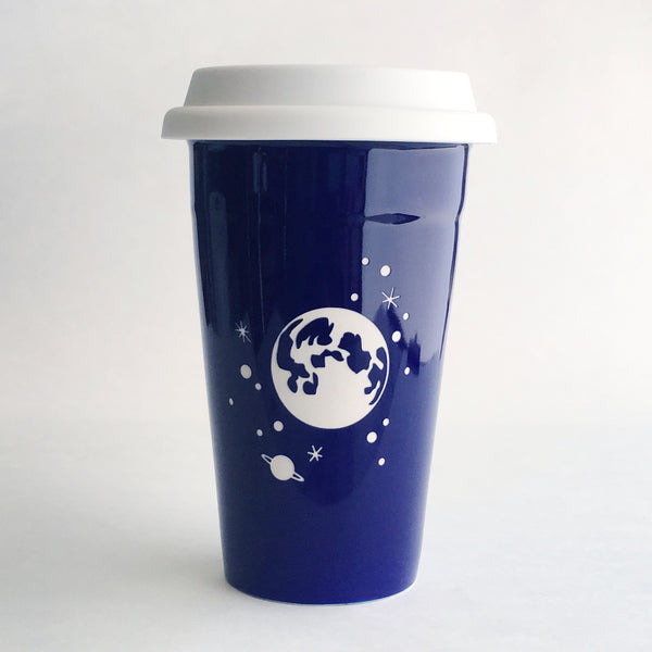 Navy Blue Moon Travel Mug by Bread and Badger