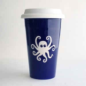 Navy Blue Octopus travel mug by Bread and Badger