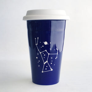 Navy Blue Orion Constellatin travel mug by Bread and Badger