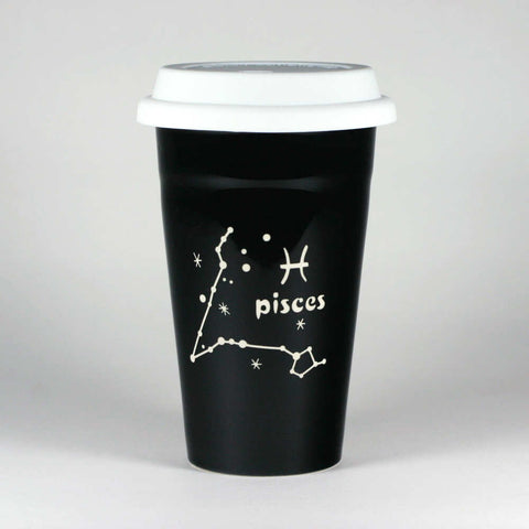 pisces constellation travel mug, black, by Bread and Badger