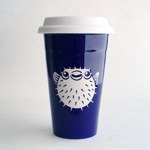 Navy Blue Puffer Fish travel mug by Bread and Badger