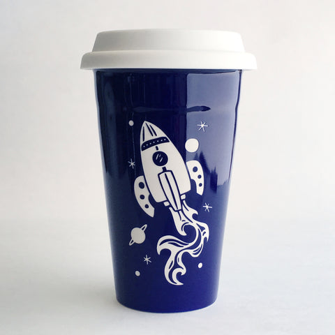 Navy Blue Rocket travel mug by Bread and Badger