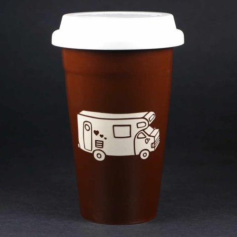RV Camper Van travel mug, brown, by Bread and Badger