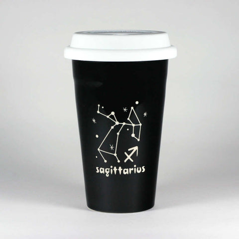 sagittarius constellation travel mug, black, by Bread and Badger
