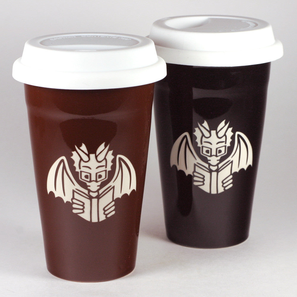 Bookish geeky Dragon Travel Mugs
