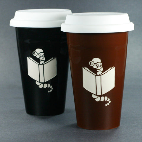 Book worm black travel mug set by Bread and Badger