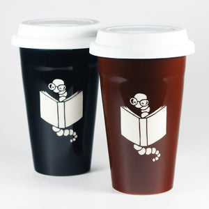 Bookworm travel mugs by Bread and Badger