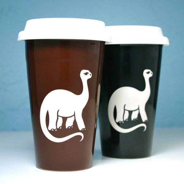 brontosaurus ceramic travel mugs