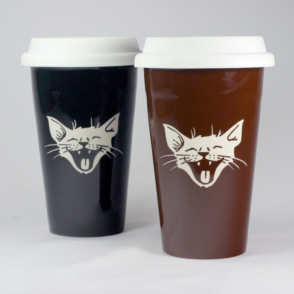 happy cat travel mug set