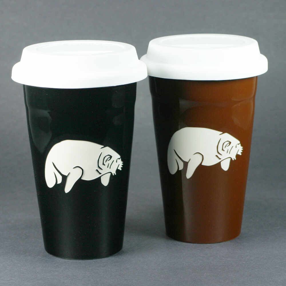 Manatee travel mugs by Bread and Badger