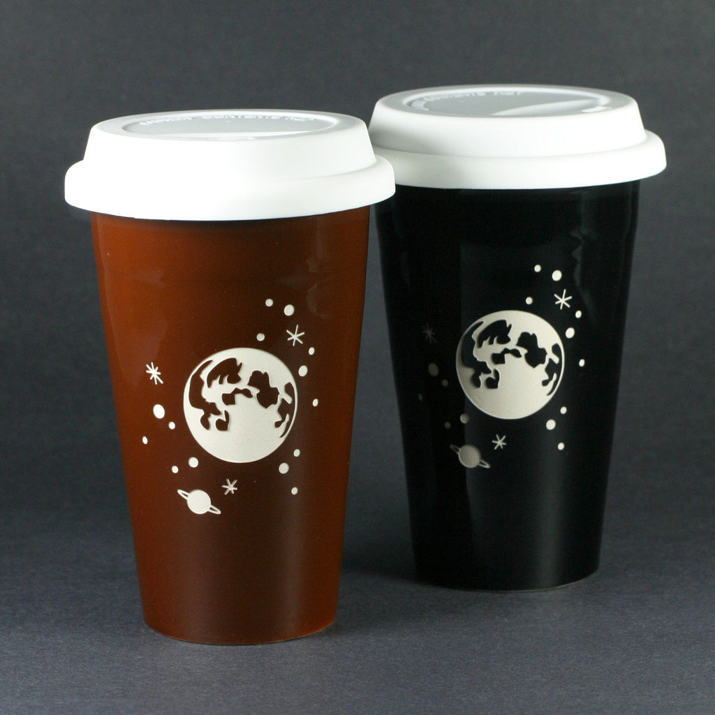 black and brown full moon travel mugs set