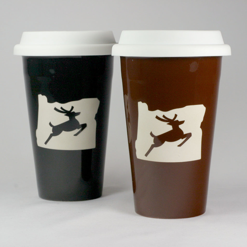 Oregon stag travel mugs