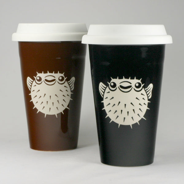 puffer fish travel mugs