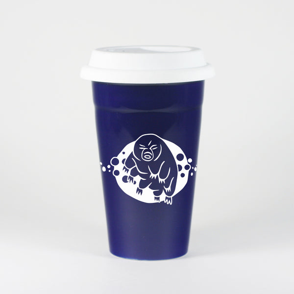 Tardigrade Water Bear Travel Mug, navy blue