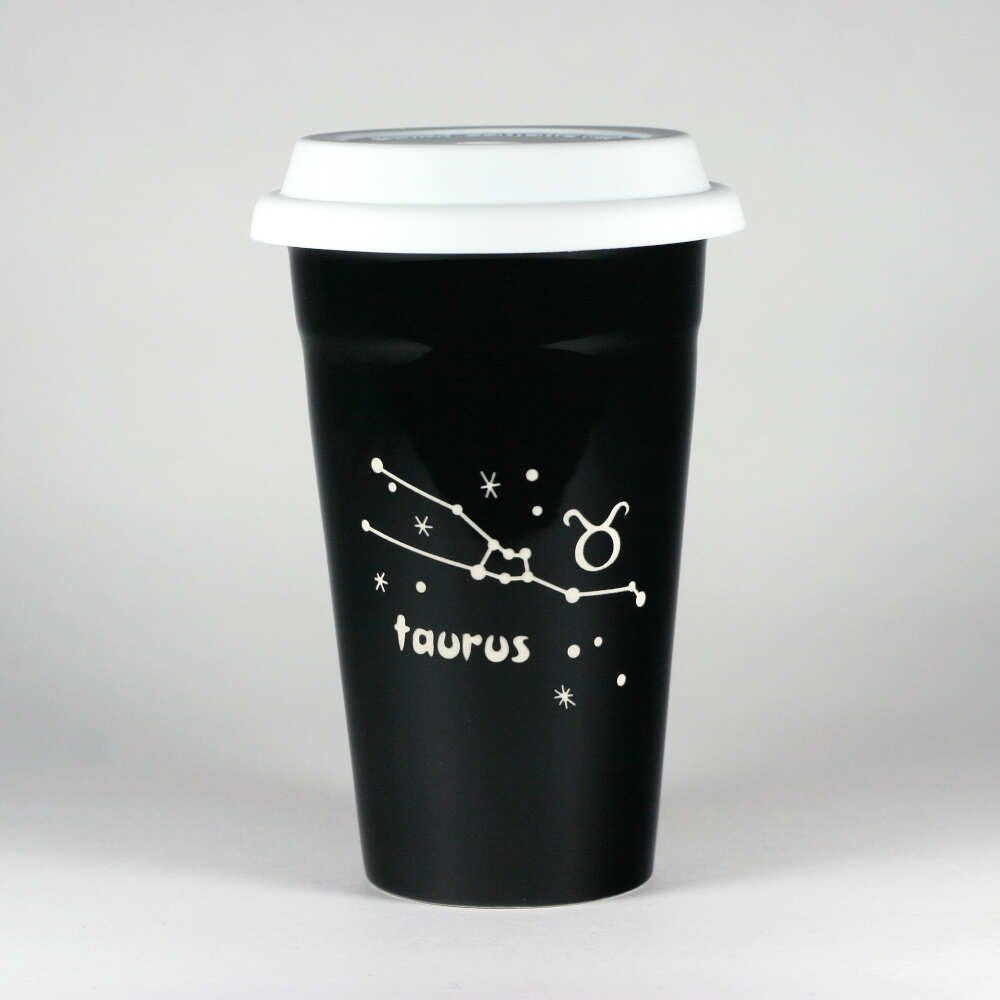 taurus constellation travel mug, black, by Bread and Badger