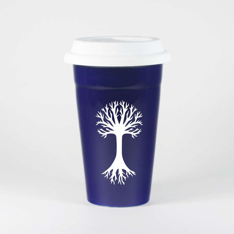 Navy Blue Tree travel mug by Bread and Badger