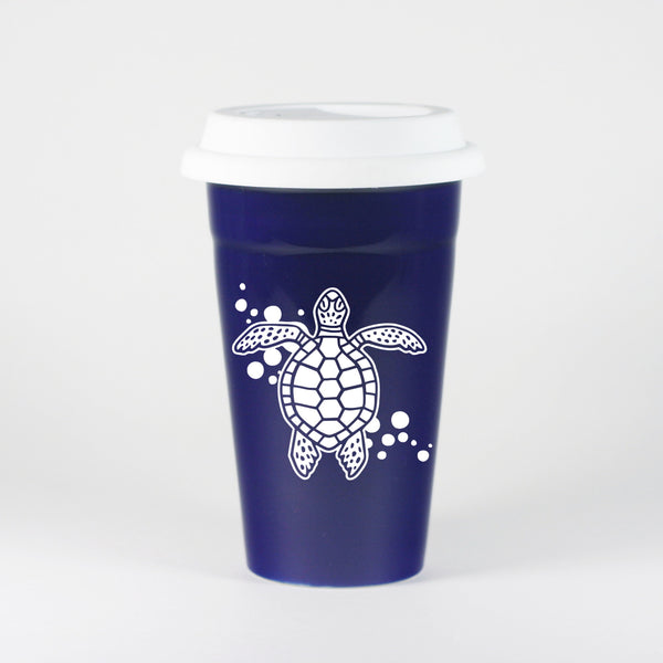 Naby Blue sea turtle travel mug