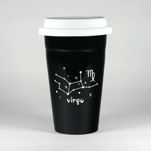 virgo constellation travel mug, black, by Bread and Badger