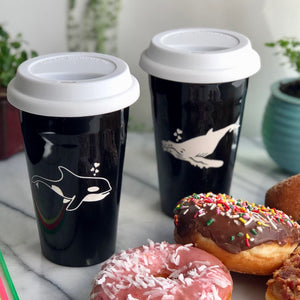 Whale Travel Mugs by Bread and Badger