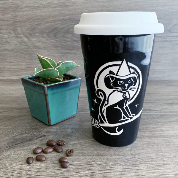 Witch Cat black travel mug by Bread and Badger